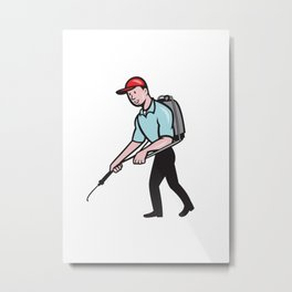 Pest Control Exterminator Spraying Cartoon Metal Print