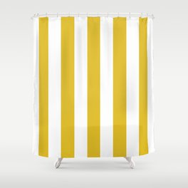 Durian Yellow - solid color - white vertical lines pattern Shower Curtain