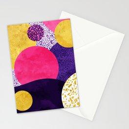 Terrazzo galaxy purple night yellow gold pink Stationery Cards