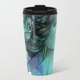 face beautiful girl drawe splash Travel Mug