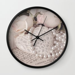 Soft Pink Nostalgic Rose and Heart Still Wall Clock