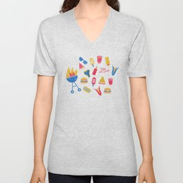 Summer BBQ Pattern - Blue Red Yellow Unisex V-Neck