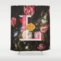 letter Shower Curtains featuring Letter L by Isabel Arenas