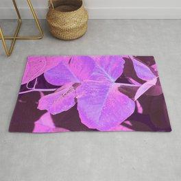 Purple leaves pink dewdrops Rug