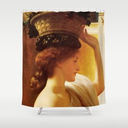 """Frederic Leighton """"Girl with a basket of fruit"""" Shower Curtain"""