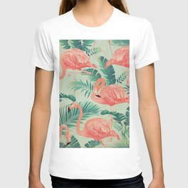 Flamingo Pattern on Mint Green - Kitschy Playful Tropical Palm Leaves T-shirt