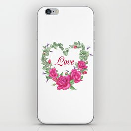 Floral wreath with rose and leaves in heart form iPhone Skin