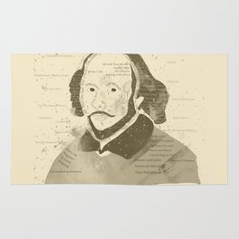 Portrait of William Shakespeare-Hand drawn-Vintage Rug