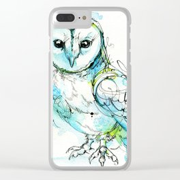 Aqua Tyto Owl Clear iPhone Case