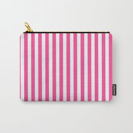 Neon pink white minimalist geometrical stripes Carry-All Pouch