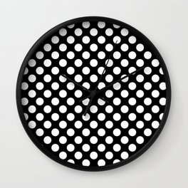 White Polka Dots with Black Background Wall Clock