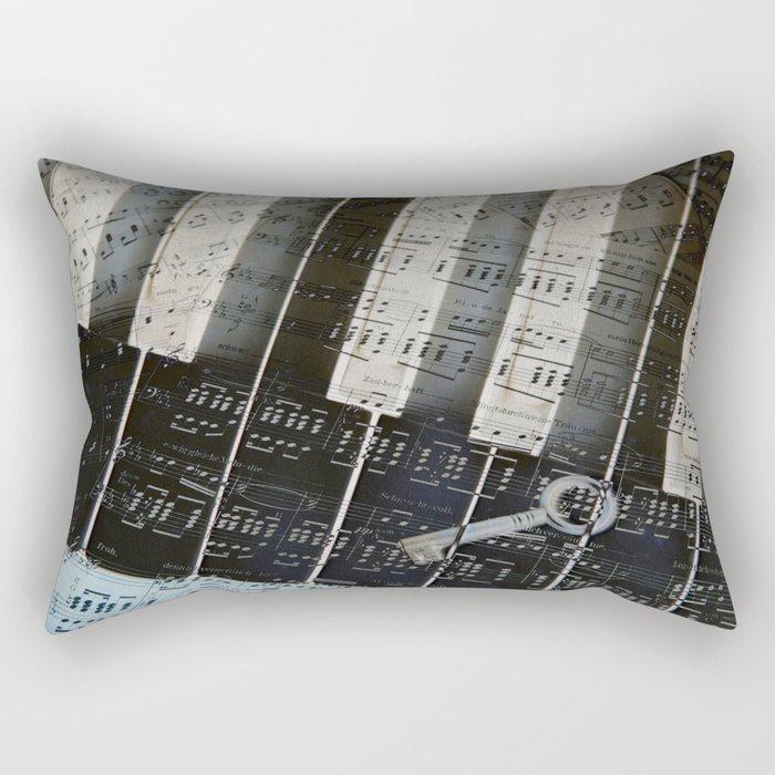 Piano Keys black and white - music notes Rectangular Pillow