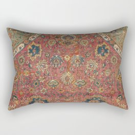 Persian Medallion Rug IV // 16th Century Distressed Red Green Blue Flowery Colorful Ornate Pattern Rectangular Pillow
