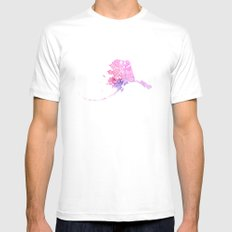 Typographic Alaska - Pink Watercolor map art White MEDIUM Mens Fitted Tee