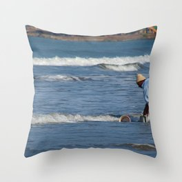 Cleaning Buckets in the Sea Arambol Throw Pillow