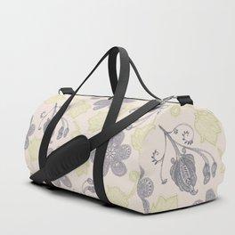 Modern vintage mint green ivory gray floral Duffle Bag
