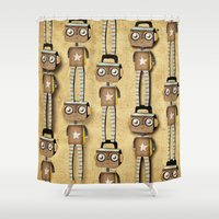 robots Shower Curtains featuring Robots  by Ruth Fitta Schulz