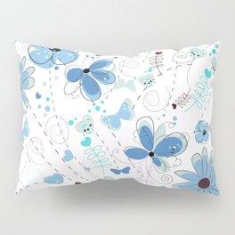 Abstract Blue Flowers Hand Drawn Elegant Pattern Pillow Sham