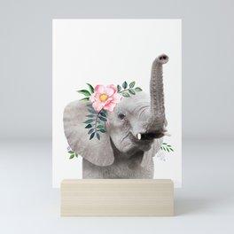 Baby Elephant with Flower Crown Mini Art Print