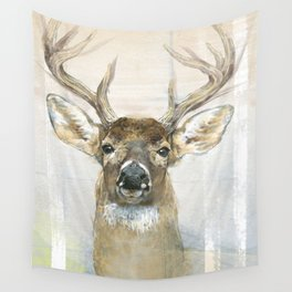 White-tailed Deer Surrounded By Birch Wall Tapestry
