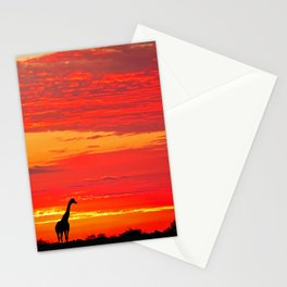 Giraffe at a sunrise in Namibia Stationery Cards