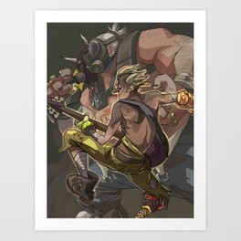 Death Growls and Punching The Guitar Art Print