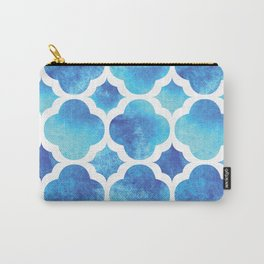 Watercolor Moroccan Quatrefoil Clover Trellis in Turquoise Sea Carry-All Pouch