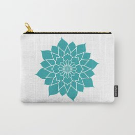 Teal mandala flower, geometrical floral pattern Carry-All Pouch