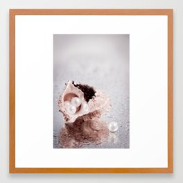 Elegant STILL LIFE with sea shell and pearls Framed Art Print
