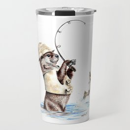 """ Natures Fisherman "" fishing river otter with trout Travel Mug"