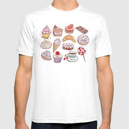 Hand drawn confectionery croissant Cupcake candy ice cream cake donut and coffee T-shirt