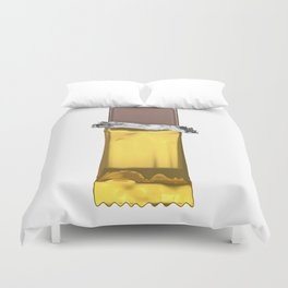 Chocolate candy bar in gold wrapper Duvet Cover