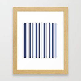 Minimalist Era - White & Indigo Blue Stripe Asymmetrical Framed Art Print
