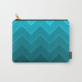 Gradient Turquoise Zig-Zags Carry-All Pouch