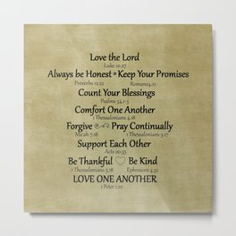Christian Faith Family Rules w/Scripture Reference Metal Print