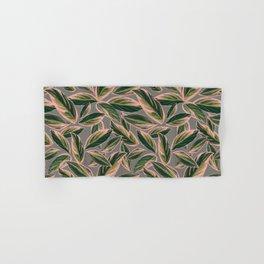Calathea Leaves Pattern- Pink Green Gray Hand & Bath Towel