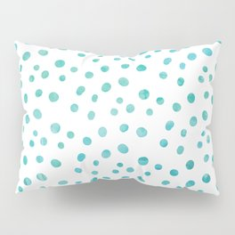 Small Blue Watercolor Abstract Polka Dots Pillow Sham