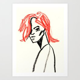 red hair girl 02 Art Print