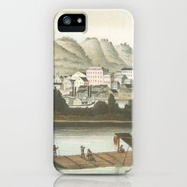 Vintage Pictorial View of Dubuque IA (1854) iPhone Case