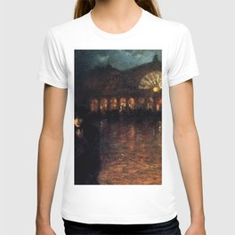 Classical Masterpiece A Woman On A Paris Street At Evening by Lionello Balestrieri T-shirt