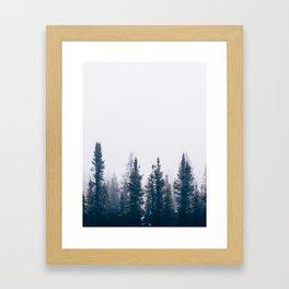 Minimalist Landscape Photo Pine Tree Silhouette Misty Forest Framed Art Print