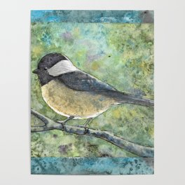 Watercolor Chickadee Poster