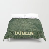 dublin Duvet Covers featuring Dublin Street Map by CartoPosters Maps