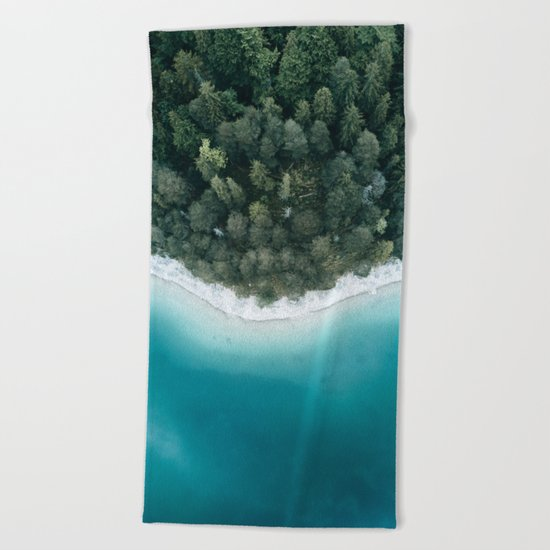 Green and Blue Symmetry - Landscape Photography Beach Towel