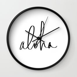Aloha Hawaii Typography Wall Clock