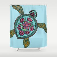 sea turtle Shower Curtains featuring Turtle by Two Legged Monster Boutique
