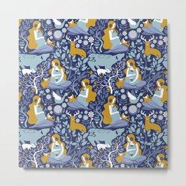 Mother Nature Scandinavian Inspiration // navy background blue and yellow mustard details Metal Print