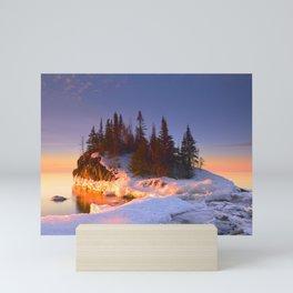 Winter Snow and Ice on Island on Lake Superior Mini Art Print