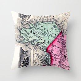 1860 Map, Russian America (Alaska) Throw Pillow