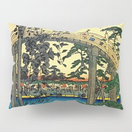 Hiroshige View Of Bridge Over Water Pillow Sham